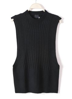 Black Sleeveless Asymmetrical Pullover Sweater