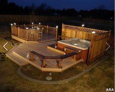 New Backyard Hot Tub Deck Jacuzzi Ideas Hot Tub Deck, Hot Tub Backyard, Backyard Privacy, Backyard Ideas, Landscaping Ideas, Backyard Retreat, Hot Tub Privacy, Nice Backyard, Romantic Backyard