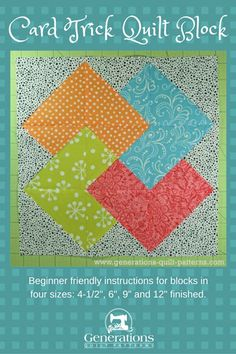 Learn to make a Card Trick quilt block or choose another from our Free Quilt Block Patterns library. Instructions are included for 4 different sizes.