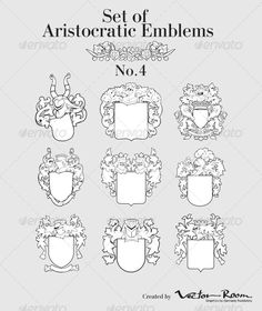 Set of Aristocratic Emblems No4  #GraphicRiver         Set of vector image of medieval coats of arms, executed in woodcut style, isolated on white background. No blends, gradients and strokes.   Included files: .ai (CS3), .eps (10 version), .cdr (X3), .svg (1.1), .jpeg (300 dpi, 4000×4100 px), .png (transperent background, 300 dpi, 4000×4100 px), .pdf (1.3).     Created: 24June13 GraphicsFilesIncluded: TransparentPNG #JPGImage #VectorEPS #AIIllustrator Layered: No MinimumAdobeCSVersion: CS…