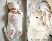 Baby Cat Cocoon Hat & Booties Crochet Pattern by ChiKDesigns Booties Crochet, Diy Tricot Crochet, Gato Crochet, Crochet Baby Cocoon, Crochet Bebe, Crochet For Kids, Baby Booties, Crochet Crafts, Crochet Projects