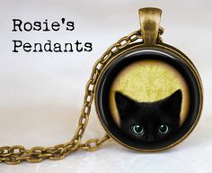 Black Peeking Kitten with optional Heart Charm by RosiesPendants