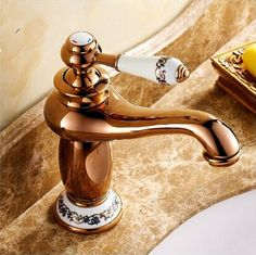 New European Style Mixer Bathroom Sink Tap Rose Gold T1120SA