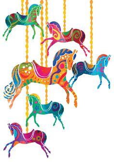 Carousel Horses Art Print by Louise Cunningham at King & McGaw Karussellpferde Kunstdruck von Louise Cunningham bei King & McGaw Indian Illustration, Horse Illustration, Art Scandinave, Rajasthani Art, Madhubani Art, Indian Folk Art, India Art, Indian Art Paintings, Carousel Horses