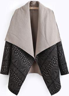 Black Lapel Long Sleeve Geometric Pattern Coat