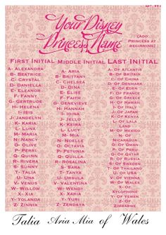 Disney Princess Name Generator. Princess Alexandra Mia of Vienna Princess Talia Lucy of Atlantis New Names, Cool Names, Crazy Names, Disney Love, Walt Disney, Funny Disney, Disney Pins, Funny Name Generator, Mermaid Name Generator
