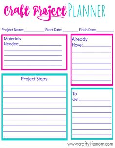 Craft Project Planner that helps you organize all of your ongoing craft and DIY projects. Perfect tool to organize. To Do Planner, Project Planner, Life Planner, Happy Planner, Planner Ideas, Planner For Kids, Craft Projects, Crafts For Kids, Projects To Try
