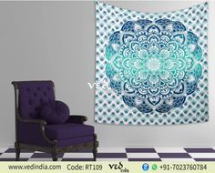 Perfect Indian ombre mandala tapestry in aqua colors to break the monotony of your boring interiors is a must buy. This hippie boho screen printed handmade queen size wall hanging tapestry in circular psychedelic pattern transforms the ambiance of coll Bed Decor, Wall Hanging, Mandala Tapestry, Bohemian Bedding, Home Decor, Tapestry Wall Hanging, Hanging Wall Decor, Mandala Tapestries Wall Hangings, Dorm Room Decor