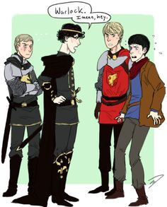 Merlin and Sherlock crossover. This is awesome! And oh no Sherlock, you're gonna get Merlin in trouble. Colin Morgan, Bradley James, Sherlock Bbc, Funny Sherlock, Watson Sherlock, Jim Moriarty, Sherlock Quotes, Johnlock, Serie Du Moment
