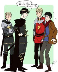 Why Sherlock would have made Merlin a very short tv series XD. Crossover fan art is the best fan art.