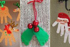 18 bricolages de Noël fait avec les empreintes des enfants!