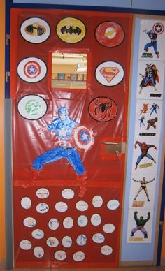 This is too cute for door idea classroom ideas for Puerta wonder woman