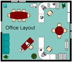 Hmm, should the be some separation between front office and back? Small office layout - Wide U-shaped desk, then shared table in center.