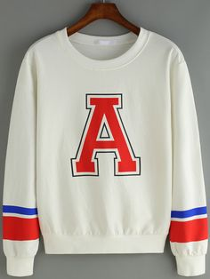 Letter Print Varsity-Striped Sweatshirt