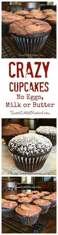 CRAZY CUPCAKES - No Eggs, Milk or Butter. Super moist and delicious. Go-to recipe for egg/dairy allergies. Great activity to do with kids. Recipe dates back to the Great Depression. Darn good cupcakes!  Perfect for parties (especially at school) - everyone should be able to enjoy yummy cake!