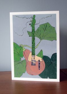 Vegetable Instrument Greetings Card. Butternut Squash. Guitar. Food Illustration.