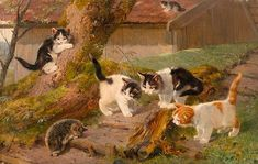 ADAM, JULIUS  (1852 München 1913)  Fünf Katzen und ein Igel.  Öl auf Leinwand. Oben rechts signiert: Jul. Adam.  26,5 x 42 cm. private collection