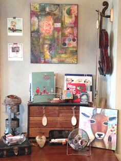 books and art and music. oh my. Chasity Heck art studio.
