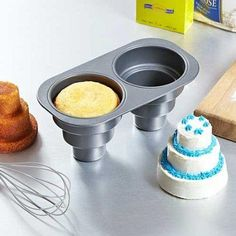 mini wedding cakes instead of cupcakes for the reception! I wonder if you can buy a pan like this thats similar to a cupcake pan with more than just 2 spaces in it. Mini Cake Pans, Mini Cakes, Cupcake Cakes, Baby Cakes, Cup Cakes, Cupcake Mold, Cupcake Liners, Cupcake Wrappers, Food Cakes