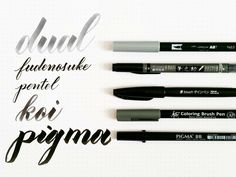 comparison of five calligraphy brush pens