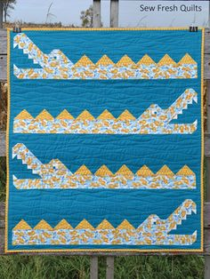 Items similar to Animal Baby Quilt Ready to ship blanket boy girl gender neutral nursery shower patchwork handmade blue green alligator crocodile water on Etsy Quilt Baby, Twin Quilt, Quilting Projects, Quilting Designs, Sewing Projects, Quilting Ideas, Sewing Crafts, Boys Quilt Patterns, Baby Patterns