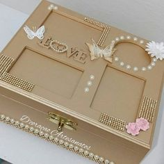 caixa personalizada | em Mdf | com a tampa de fotos | pérolas | borboletas | strass