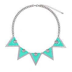 Geo Prism Necklace ($12) ❤ liked on Polyvore featuring jewelry, necklaces, geometric necklace, short chain necklace, teal necklace, color block necklace and short necklaces