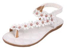 17657c0d38e104 EOZY Women Flower Beads Bohemia Flip-flops Shoes Flat Sandals     See this