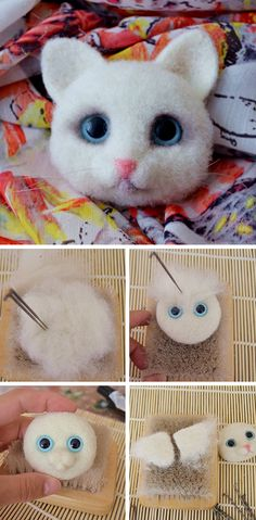 "Felted brooch ""Kitty"". Click on image to see step-by-step tutorial"