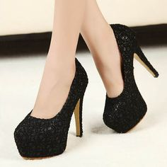 Black Lace Stilleto Heels