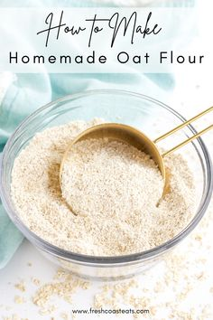 Your complete guide to making oat flour at home. Learn what kind of oats to use, how to process oat flour, how to store oat flour and how to use oat flours. Once you perfect your new skill, you can try of my ten favorite oat flour recipes. #homemade #oat flour #oat flour recipe Best Dinner Recipes, Whole 30 Recipes, Gourmet Recipes, Easy Recipes, Healthy Recipes, Healthy Meals For Kids, Quick Easy Meals, Kids Meals, Oat Flour Recipes