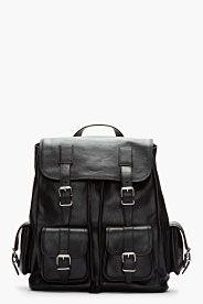 SAINT LAURENT Black Leather Cargo Rock Backpack