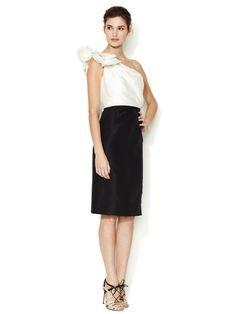 Silk One Shoulder Colorblock Dress by Carolina Herrera at Gilt