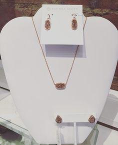 The popular Rose Gold back in stock!!! Kendra Scott- $65 each  #madisonsbluebrick #downtownhotsprings #kendrascott #jewelry #earrings #necklace
