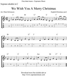 Free Sheet Music Scores: We Wish You A Merry Christmas, free Christmas ukulele tabs sheet music
