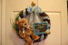 Door Wreath Baby Announcement - Chalkboard so that we can buy ahead of time and fill in once Baby arrives.