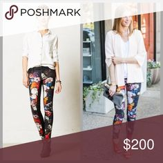 """❤️Anthropologie Coated Floral Denim❤️ Brand new with tags. I will only consider reasonable offers through the offer button, NO TRADES!!  Koral jeans begin with high-quality textiles obsessively gathered from across the globe, then get their signature lived-in look thanks to meticulous, nuanced detailing. Skinny from hip through ankle, this floral-printed mid-rise pair is complete with a sleek, leather-like coating.   By Koral Five-pocket styling Cotton, polyester, lycra Dry clean 30.5""""L 8""""…"""