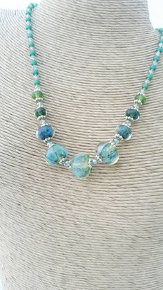 Handmade Glass Lamp work Necklace - Green Lamp work Necklace -Teal Lampwork…