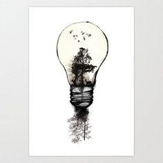 Cool tree in a light bulb tattoo idea
