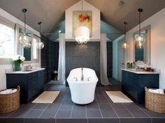 Open Bathroom, Modern Master Bathroom, Bathroom Spa, Bathroom Lighting, Bathroom Ideas, Chandelier Lighting, Bathroom Makeovers, Master Bathrooms, Bathroom Designs