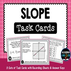 This resource includes three sets of task cards (44 task cards total) to help students practice how to find the slope of a line when two points (ordered pairs) are given, from table of values, and from a graph. This activity includes problems with different levels of difficulty which is perfect for differentiation and a great tool to challenge your Algebra students. $