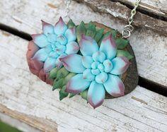 Check out Blue Succulent Pendant Necklace Wholesale Metal Basis Succulent Plants Medallion Pendant Jewelry Succulent Wedding Bridal Mother Gifts on eteniren