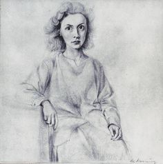 Willem de Kooning - Portrait of Elaine, pencil on paper, 12 x 11 inches Private collection Photo courtesy of Allan Stone Projects, New York Action Painting, Painting & Drawing, Cartoon Drawings, Pencil Drawings, Art Drawings, Drawing Faces, Willem De Kooning, Jackson Pollock, Mondrian