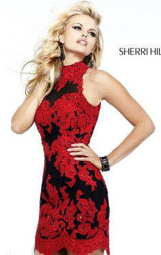 Open-Back Sherri Hill 21188 Short Homecoming Dresses Keyhole Red/Black Beaded 2015 [Sherri Hill 21188 Red/Black] - $160.00 : 2015 homecoming dresses & cocktail dresses fashion choices at homecomingfashion.com!