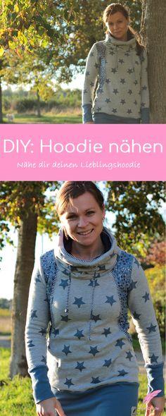 DIY Hoodie nähen; Schnell genähter Hoodie der in keinem Kleiderschrank fehlen darf! Nähe dir jetzt deinen Lieblingshoodie.