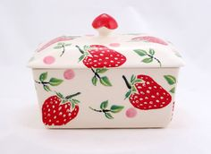 Strawberry Lidded Butter Dish