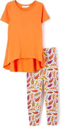 Orange Top & Paisley Leggings - Toddler & Girls