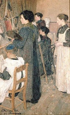 Art Students, 1895 by E. Phillips Fox. #art #drawing #painting