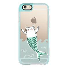 iPhone 6 Plus/6/5/5s/5c Case - Mermaid Cat with Little Fish ($40) ❤ liked on Polyvore featuring accessories, tech accessories, iphone case, cat iphone case, iphone hard cases, iphone cover case and apple iphone cases