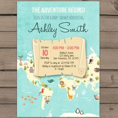oh the places you will go invitation map travel baby shower, Baby shower invitations